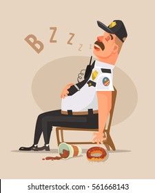 Police guard man character sleep. Vector flat cartoon illustration