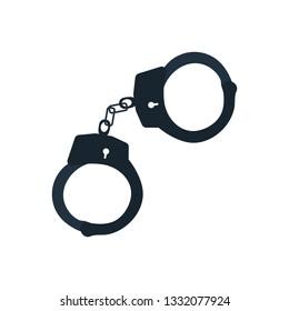 Police handcuff icon. Flat color design. Vector illustration.