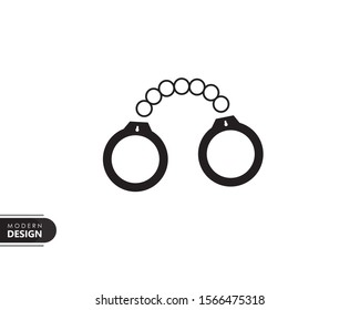 police handcuffs black solid icon with modern design, isolated on white background. flat style for graphic design template. suitable for logo, web, UI, mobile app. vector illustration