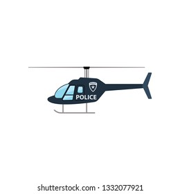 Police helicopter icon. Flat color design. Vector illustration.