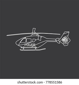 Police helicopter icon, vector illustration design. Police collection.