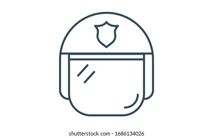 Police helmet icon. Simple illustration of police helmet vector icon for web design isolated on white background