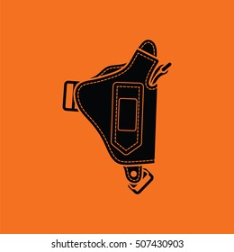 Police holster gun icon. Orange background with black. Vector illustration.