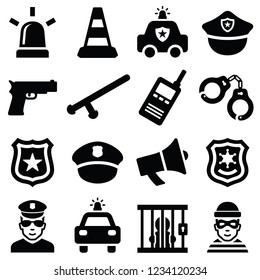 Police icon collection - vector silhouette