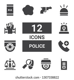 police icon set. Collection of 12 filled police icons included Walkie talkie, Cctv, Detective, Justice, Emergency call, Siren, Custom, Hooter, Barbed wire, Gun