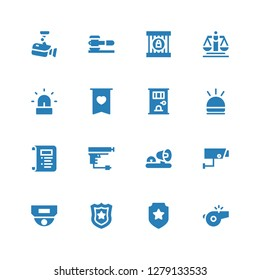 police icon set. Collection of 16 filled police icons included Whistle, Badge, Police badge, Cctv, Security camera, Ambulance lights, Gun, Law, Hooter, Jail, Siren, Justice