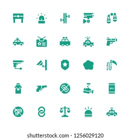 police icon set. Collection of 25 filled police icons included Police car, Hooter, Law, Handcuffs, No weapons, Emergency call, Cctv, Gun, Judge, Weapon, Custom, Badge, Security camera
