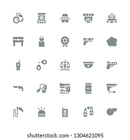 police icon set. Collection of 25 filled police icons included Whistle, Judging, Walkie talkie, Hooter, Weapon, Gun, Emergency call, Detective, Cctv, Justice, Handcuffs, Custom