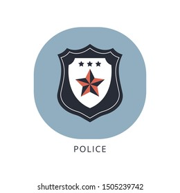 Police icon vector illustration flat design