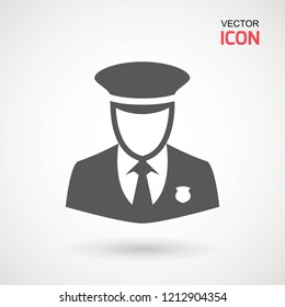 Police Icon vector. Policeman Officer avatar illustration. Soldier icon. Element of war and piece. Signs and symbol for websites, web design, mobile app on white background