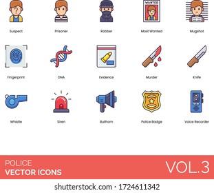 Police icons including suspect, prisoner, robber, most wanted, mugshot, fingerprint, DNA, evidence, murder, knife, whistle, siren, bullhorn, badge, voice recorder.