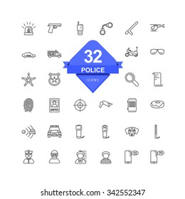Police Icons ( Line Icons )