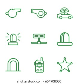 Police icons set. set of 9 police outline icons such as police car, siren, sheriff, walkie talkie, whistle