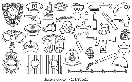 police icons set (bobby helmet, hat, bat, hands in handcuffs, revolver, chain with shackle, sheriff star shield, barbed wire, helicopter, rifle, knife, dynamite, prison  barbed wire, mask, microscope)