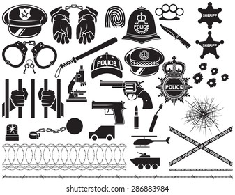 police icons set (british bobby helmet, hat, bat, hands in handcuffs, revolver, chain with shackle, sheriff star shield, barbed wire,  bullet hole in glass)