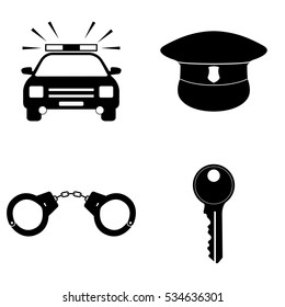 Police icons vector set