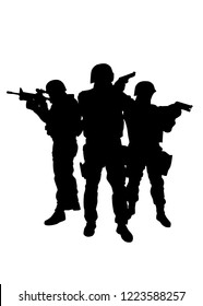 Police Immediate reaction team, special operations and counter terrorism unit three fighters in tactical ammunition, standing together and aiming weapons vector silhouette isolated on white background