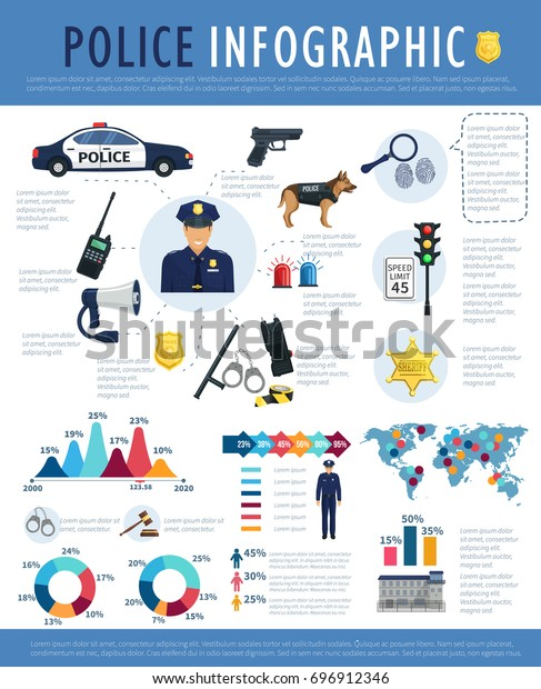 Police Infographic Template Design Crime Law Stock Vector