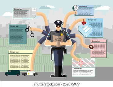 Police infographic at work. Working time. Service in policeman. Investigation, arrest, Chase, crime, search, donut. Man in uniform