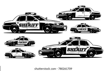 Police interceptor. Sheriff's Car black and white illustration
