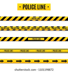 Police Isolated insulation line. Realistic warning tapes. Signs of danger. Vector illustration isolated on a cellular background. Yellow.