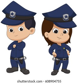Police kid standing.Vector and illustration.