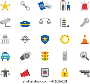 POLICE & LAW ENFORCEMENT colored flat icons