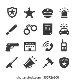 police and law icons vector black set