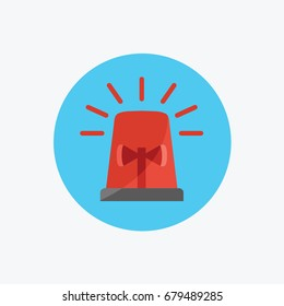 police light vector & red flashing sign, ambulance, or Firefighters siren icon flat design style symbol. simple cartoon Emergency vehicle lighting isolated.