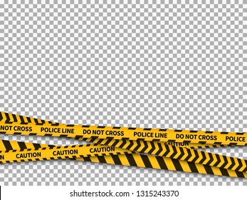 Police line background. Caution yellow tape police security danger taped forbidden line safe attention crime, vector illustration