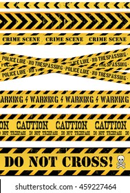 Police Line, Crime Scene And Warning Tapes/ Illustration of a set of seamless grunge police and do not cross lines, danger sign, crime and warning tapes