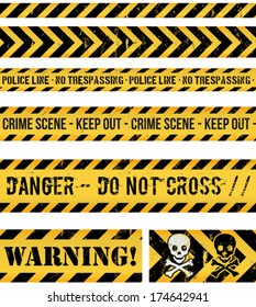 Police Line, Crime And Warning Seamless Tapes/ Illustration of a set of seamless grunge police lines, danger sign, crime and warning tapes