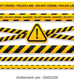 Police line, danger tapes and attention sign. Vector illustration.