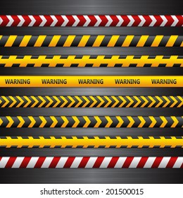 Police line, danger tapes on the dark metall background. Vector illustration.