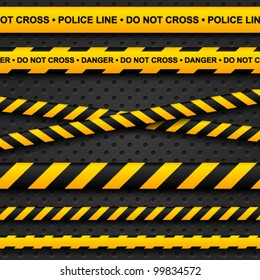Police line and danger tapes on dark background. Vector illustration.