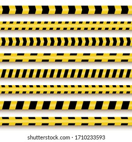 Police line and danger tapes. Seamless construction  stop tape lines (do not cross) set, yellow vector security restricted ribbons template pattern, caution, warning about danger, risk, hazard, crimes