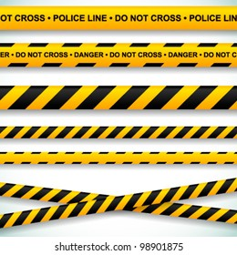 Police line and danger tapes. Vector illustration.