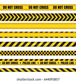 Police line and do not cross ribbons. Yellow danger tapes. Horizontal seamless borders. Vector illustration