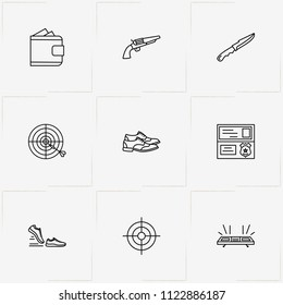 Police line icon set with shoes , police flasher  and revolver