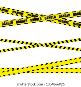 Police Line Set, Construction Site and Danger Tape. Black and yellow police stripe border. Vector illustration EPS10
