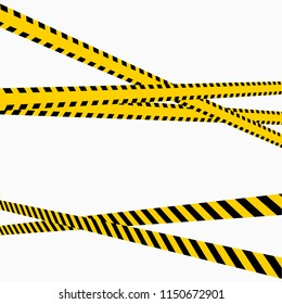Police Line Set in perspective on a white background Vector illustration 3D