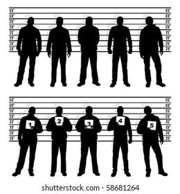 Polizeiaufstellung von Silhouetten