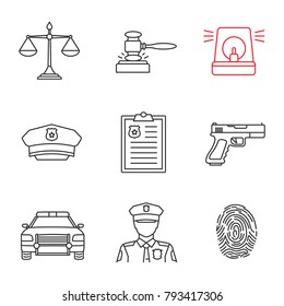 Police linear icons set. Justice scales, gavel, alarm, hat, report, gun, car, policeman, fingerprint. Thin line contour symbols. Isolated vector outline illustrations