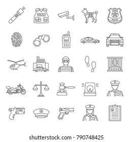 Police linear icons set. Law enforcement. Transport, protection equipment, weapon. Thin line contour symbols. Isolated vector outline illustrations. Editable stroke