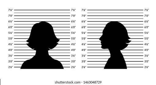 Police lineup. Mugshot background with silhouette women. Black silhouette on white background. Front and profile of  woman. Isolation. Vector illustration