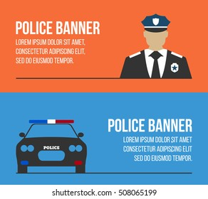 Police logos and banners. Elements of the police equipment icons. Protect and Serve label. Vector Illustration.