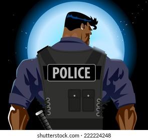 Police man back