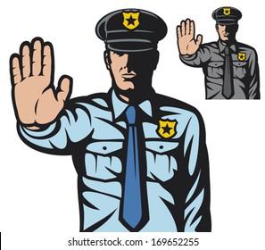police man gesturing stop sign
