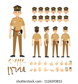 police man india character set. Full length. Different view, emotion, gesture.