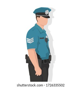 Police man in modern flat style, simple people concept on white background.